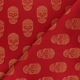 Tissu Jacquard Skull - rouge x 10cm