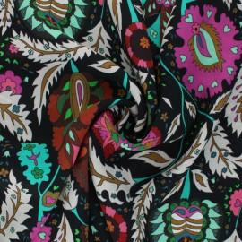 Crinkle viscose Fabric - black Zohra x 10cm