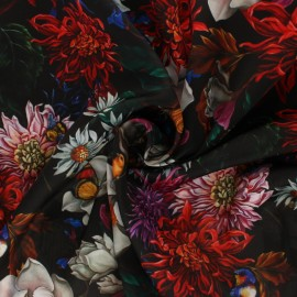 Tissu satin polyester Marcia - noir x 10cm