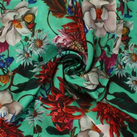 Tissu satin polyester Marcia - vert x 10cm