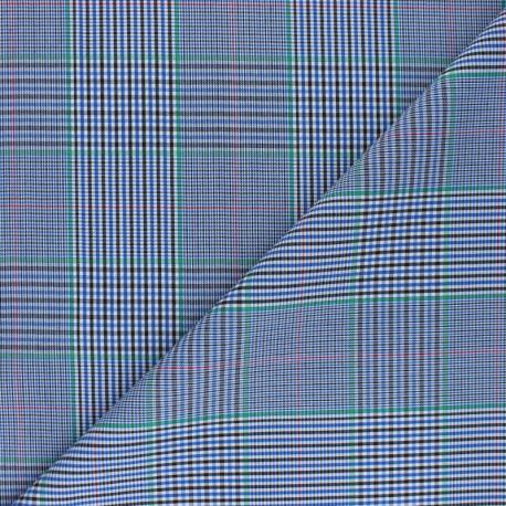 Tissu Gabardine élasthanne carreaux - bleu x 10cm