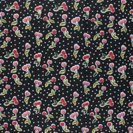 Poppy Coated cretonne cotton fabric - black Love you cherry much x 10cm