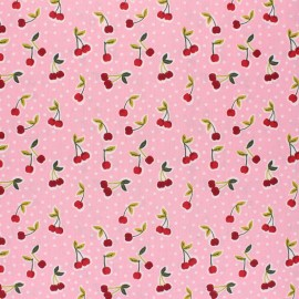 Poppy Coated cretonne cotton fabric - pink Love you cherry much x 10cm