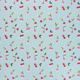 Poppy Coated cretonne cotton fabric - grey green Love you cherry much x 10cm