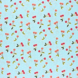 Poppy Coated cretonne cotton fabric - blue Love you cherry much x 10cm