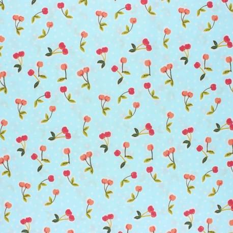 Tissu coton cretonne enduit Poppy Love you cherry much - bleu x 10cm