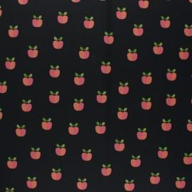 Poppy Coated cretonne cotton fabric - black Lovely apple x 10cm