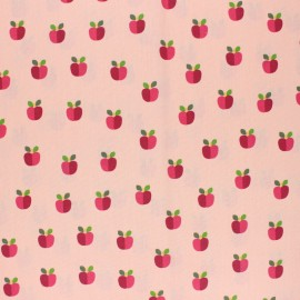 Poppy Coated cretonne cotton fabric - pink Lovely apple x 10cm
