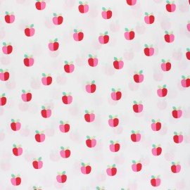 Poppy Coated cretonne cotton fabric - white Lovely apple x 10cm