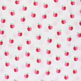 Tissu coton cretonne enduit Poppy Lovely Apple - blanc x 10cm
