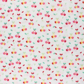 Poppy Coated cretonne cotton fabric - white Yummy cherry x 10cm