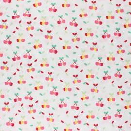 Tissu coton cretonne enduit Poppy Yummy cherry - blanc x 10cm