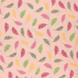 Poppy Coated cretonne cotton fabric - pink Colorful leaves x 10cm
