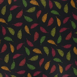 Poppy Coated cretonne cotton fabric - black Colorful leaves x 10cm