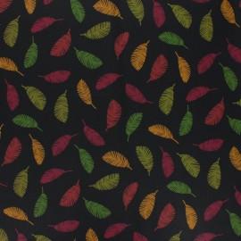 Tissu coton cretonne enduit Poppy Colorful leaves - noir x 10cm