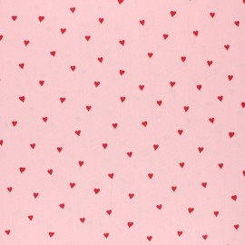 Poppy Coated cretonne cotton fabric - pink You're a sweetheart x 10cm