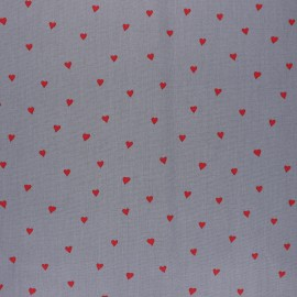 Poppy Coated cretonne cotton fabric - grey You're a sweetheart x 10cm