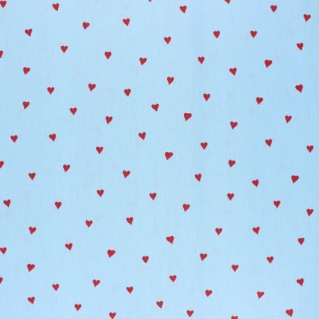 Tissu coton cretonne enduit Poppy You're a sweetheart - bleu x 10cm