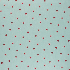 Poppy Coated cretonne cotton fabric - green You're a sweetheart x 10cm