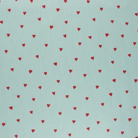 Tissu coton cretonne enduit Poppy You're a sweetheart - vert x 10cm