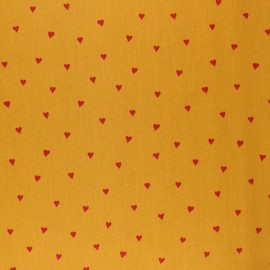Poppy Coated cretonne cotton fabric - mustard You're a sweetheart x 10cm
