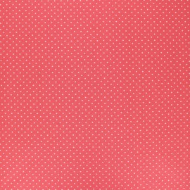 Poppy Coated cretonne cotton fabric - coral Petit dots x 10cm