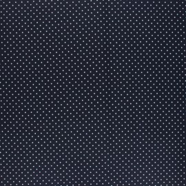 Poppy Coated cretonne cotton fabric - navy blue Petit dots x 10cm