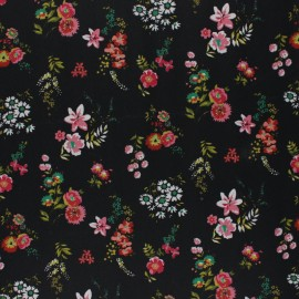 Poppy Coated cretonne cotton fabric - black Flowery x 10cm