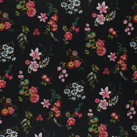 Tissu coton cretonne enduit Poppy Flowery - noir x 10cm