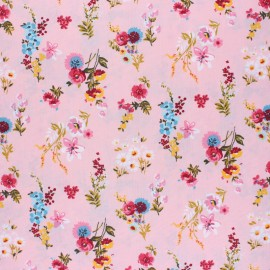 Poppy Coated cretonne cotton fabric - pink Flowery x 10cm