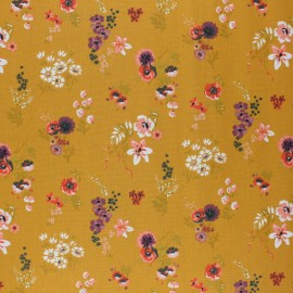 Poppy Coated cretonne cotton fabric - mustard yellow Flowery x 10cm