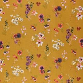 Tissu coton cretonne enduit Poppy Flowery - jaune moutarde x 10cm