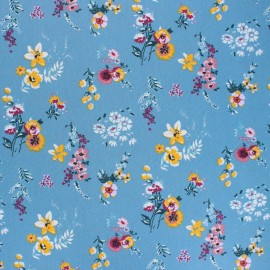 Poppy Coated cretonne cotton fabric - blue Flowery x 10cm