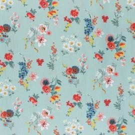 Tissu coton cretonne enduit Poppy Flowery - vert x 10cm