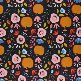Tissu coton cretonne enduit Poppy Easy peachy - bleu marine x 10cm