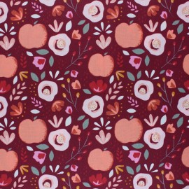 Poppy Coated cretonne cotton fabric - bordeaux Easy peachy x 10cm