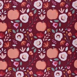Tissu coton cretonne enduit Poppy Easy peachy - bordeaux x 10cm