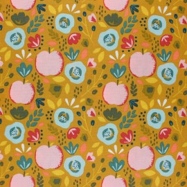 Tissu coton cretonne enduit Poppy Easy peachy - jaune moutarde x 10cm