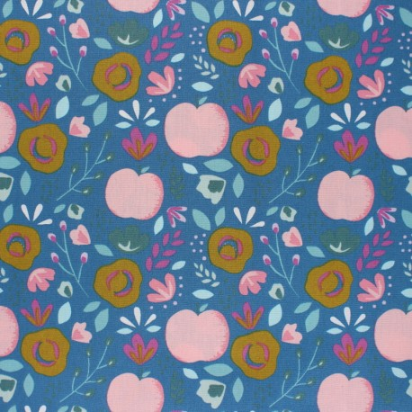 Tissu coton cretonne enduit Poppy Easy peachy - bleu x 10cm