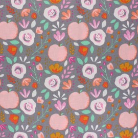 Poppy Coated cretonne cotton fabric - grey Easy peachy x 10cm