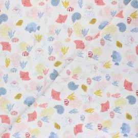 Cotton poplin fabric - white Under the ocean x 10cm