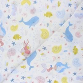 Tissu popeline de coton Lali la sirène - blanc x 10cm
