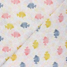 Tissu popeline de coton Dotted fish - blanc x 10cm