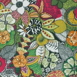 Tissu coton cretonne enduit Suzann - vert x 10cm