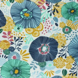 Coated cretonne cotton Fabric- blue Chidori x 10cm