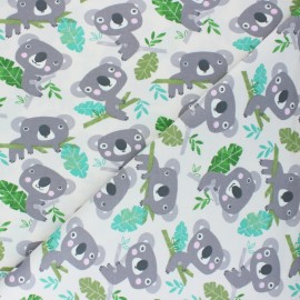Tissu jersey Koala squad - blanc  x 10cm