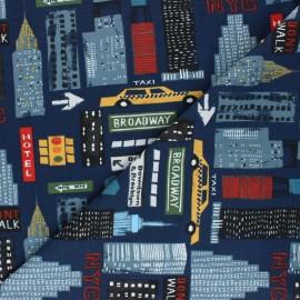Tissu jersey Broadway - Bleu marine x 10cm