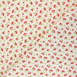 Tissu PUL jersey coton Sweet cherry - blanc x 10cm