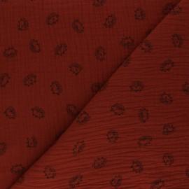 Double cotton gauze fabric - red brick Hérisson x 10cm