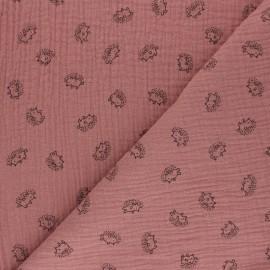 Double cotton gauze fabric - rosewood Hérisson x 10cm